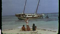 SHIPWRECKED People Marooned Desert Island Vintage Film Home Movie 3455 Stock Footage