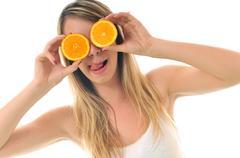 woman isolated on white hold orange - stock photo