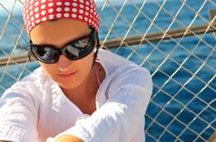 Woman with sunglasses outdoor Stock Photos