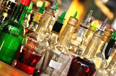 many bottles of alcohol - stock photo