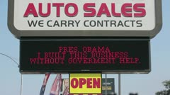 Auto sales Obama small business HD 2861 Stock Footage