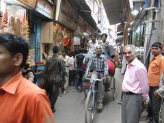 traffic inches forward near chandi chowk - stock photo