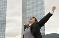 Photo of happy winner businessman  screaming from joy Stock Photos