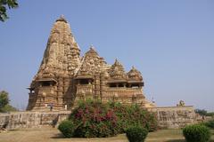 Exterior decorations of the  kandariya mahadeva temple Stock Photos