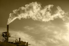 power plant pollution - stock photo