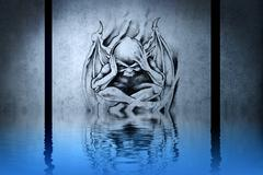 Demon head tattoo on blue wall reflections in the water Stock Illustration