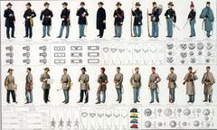 uniforms and badges of union and confederate cavalry - stock photo