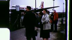 FLIGHT DELAY PASSENGERS Men BOARDING Airport 1950s Vintage Film Home Movie 3490 Stock Footage