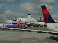 Aircraft are serviced on the tarmac Stock Photos