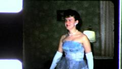 Boy EVENING GOWN High School Prom Girl Formal 1960s Vintage Film Home Movie 3499 Stock Footage