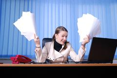 .businesswoman holding empty documents Stock Photos