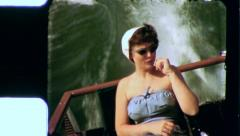PRETTY WOMAN Bathing Suit Boat 1955 (Vintage Old Film Home Movie) 3503 Stock Footage