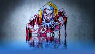 Fantasy funny jester tattoo with water reflection. illustration design over r Stock Illustration