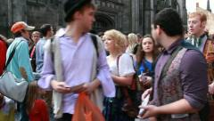 Actors at the Edinburgh Festival Fringe - stock footage