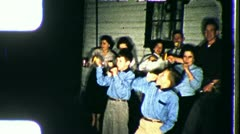 RINGING IN THE NEW YEAR! People Celebrate 1960s Vintage Film Home Movie 3516 Stock Footage
