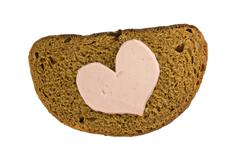 Stock Photo of bread and heart shaped sausage