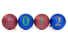 christmas baubles with 2012 date - stock photo