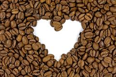 Stock Photo of coffee beans shows a heart shape