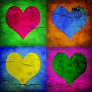 Stock Photo of four hearts with different colors
