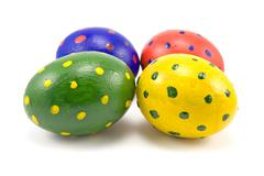 four colorful easter eggs - stock photo