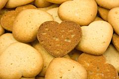 heart shaped brown cookies - stock photo