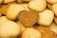 Stock Photo of heart shaped brown cookies