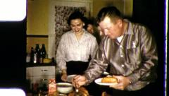 People in BUFFET Line Food HOT DOGS 1950s Vintage Film Home Movie 3520 Stock Footage