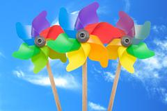 Stock Photo of pinwheel toys against blue sky