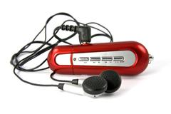 Stock Photo of red portable music player