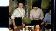Stock Video Footage of FAMILY PARTY Buffet DINNER Meal Friends 1950s (Vintage Film Home Movie) 3524
