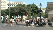 Stock Video Footage of Cross road Plaza Catalunya Barcelona