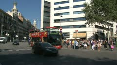 Tourism bus downtown Barcelona Stock Footage