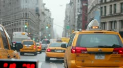 New York streets and Flat Iron building - shot from moving taxi Stock Footage