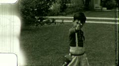KID Shoots Pop Gun Child BOY 1940s Vintage 8mm Film Home Movie 3533 - stock footage