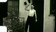 Sleepy Young MAN Morning Wakeup YAWNING 1930s Vintage Film Home Movie 3535 Stock Footage