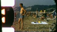 Stock Video Footage of CROWDED BEACH SCENE Summer 1960 (Vintage Old Film Home Movie) 3538