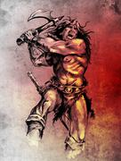 Sketch of tattoo art, warrior fighting with big axe Stock Illustration