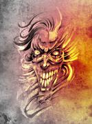 Sketch of tattoo art, smilling skull and clown Stock Illustration