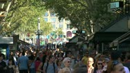 Stock Video Footage of Crowded La Rambla, Barcelona