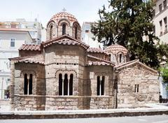 Byzantine Kapnikarea, Orthodox church in central Athens, Greece - stock photo