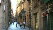 Stock Video Footage of side street of the La Rambla, Barcelona