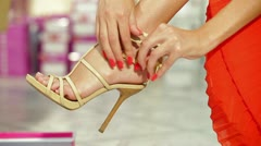 Woman Shopping in Shoe Store Stock Footage
