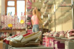 Shopping in Shoe Store Stock Footage