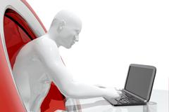 Person working with laptop - stock illustration