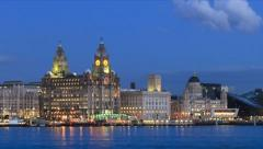 Time lapse of Mersey Ferry crosses River Mersey to Liverpool Stock Footage