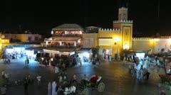 Jemaa el-Fnaa mosque, Marrakech, Morocco. Stock Footage