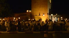 Muslims pray at night during Ramadan, Marrakech, Morocco, July 2012. - stock footage