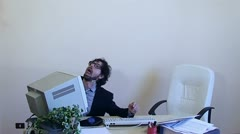Office Work Employee strangled by monitor - stock footage