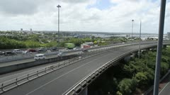 Auckland City traffic pan Stock Footage