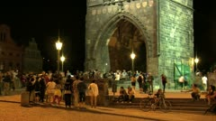 People time lapse Old Town bridge tower Stock Footage
